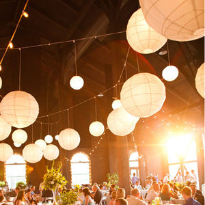 Paper Lanterns hanging in a barn.