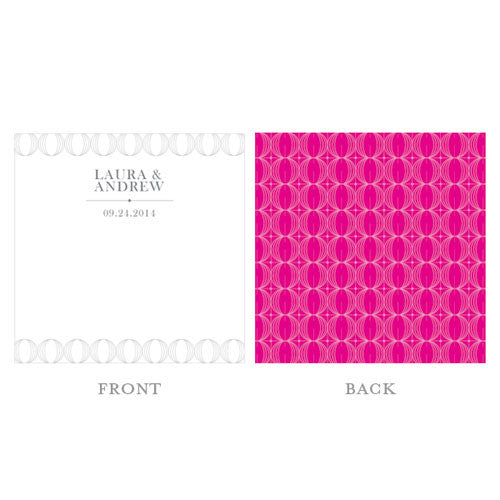 """Circle of Love"" Wishing Well Personalized Cards in Fuchsia"