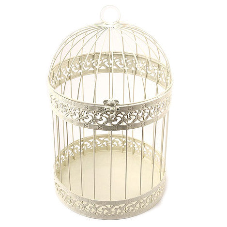 Decorative Birdcage - Round in Ivory