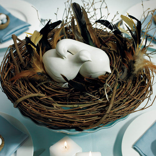 Contemporary Love Birds Wedding Cake Topper nestled together in a bird's nest.