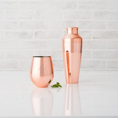 Personalized Rose Gold Copper Stemless Cup