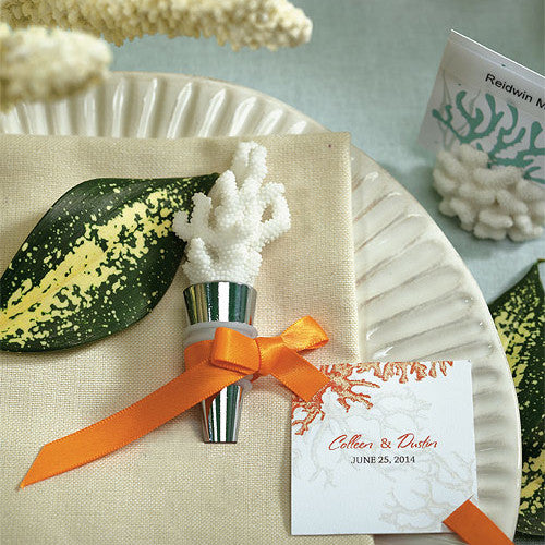 Coral Beach Wedding Bottle Stopper with Packaging