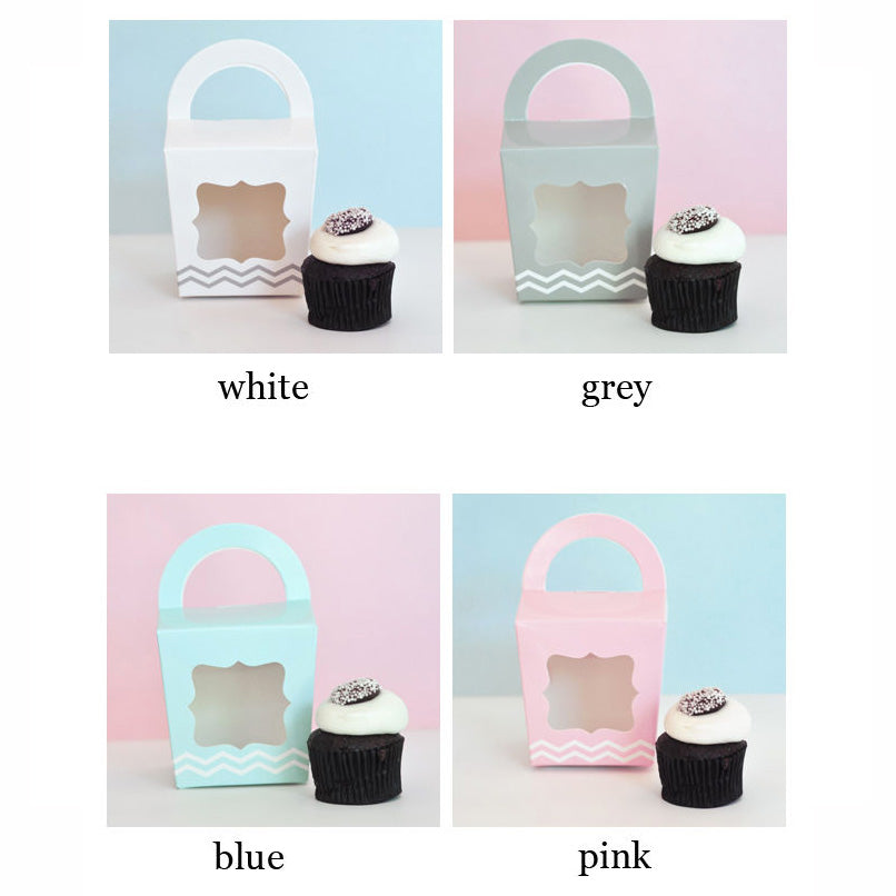 White - Pink- Blue -Grey Cupcake Tote Party Favor Box (Set of 12)