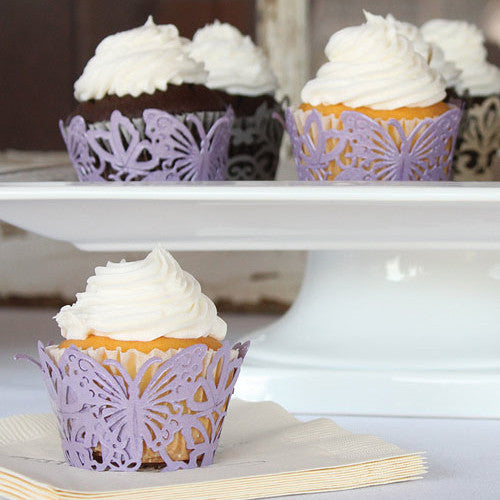 Lavender Butterfly Filigree Paper Laser Cupcake Wraps