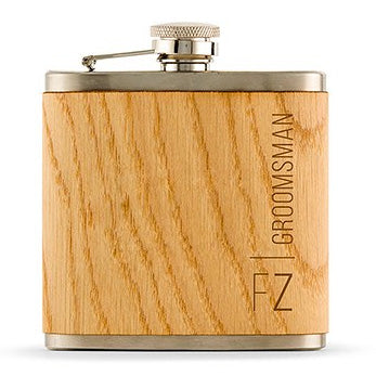 Personalized Wood Flask with Vertical Text and Initials