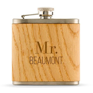 Personalized Wood Wrapped Hip Flask