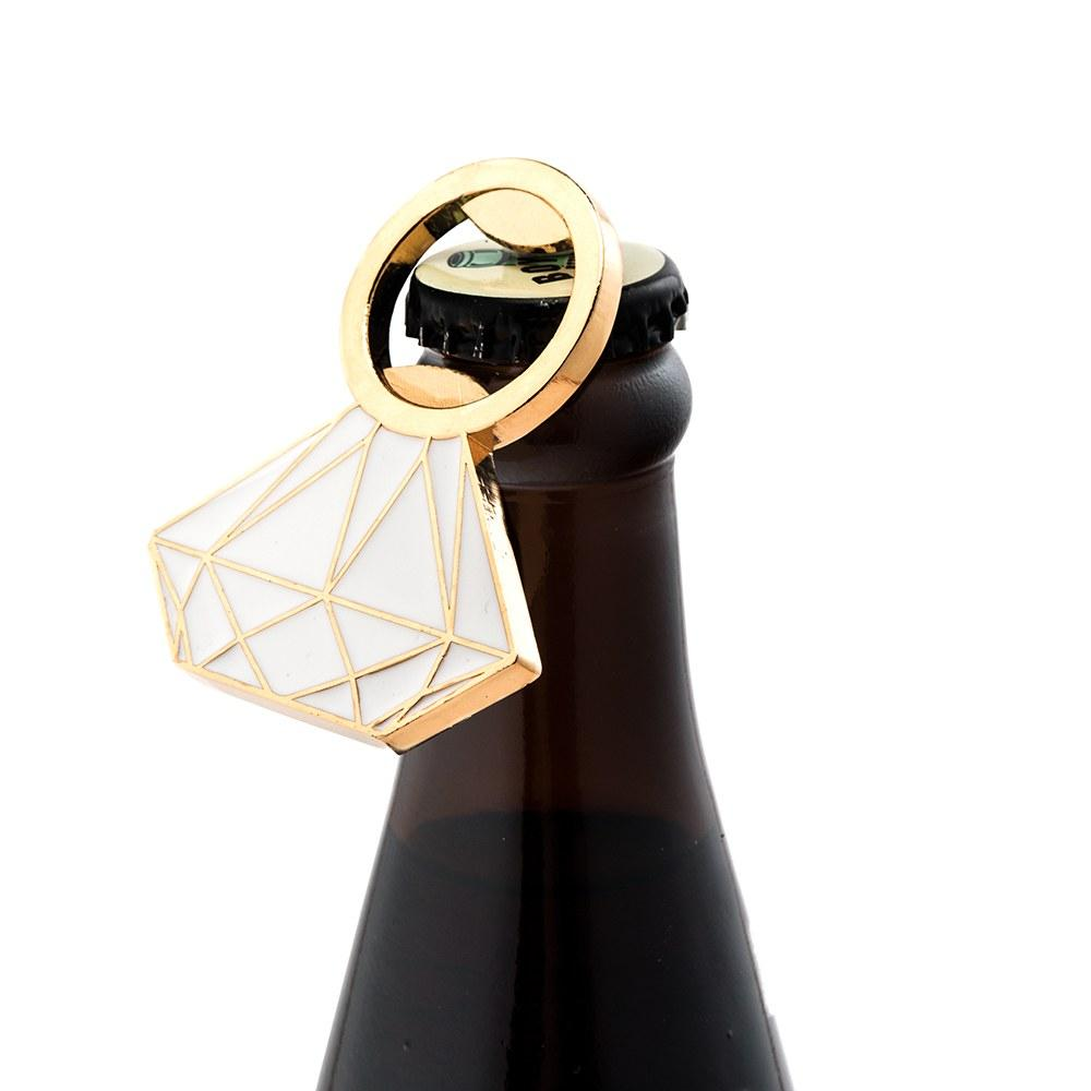 Diamond Ring Gold Colored Bottle Opener Wedding Party Favor