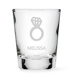 Personalized Diamond Ring Etched Shot Glass