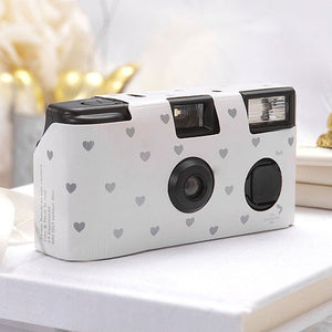 White with silver hearts disposable camera for weddings and parties.