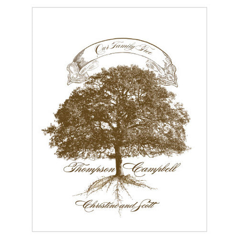 Personalized Family Tree Oak Tree Pillar Candle