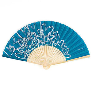 Bridesmaid Wedding Guest Hand Fan with Hearts (Pack of 6)