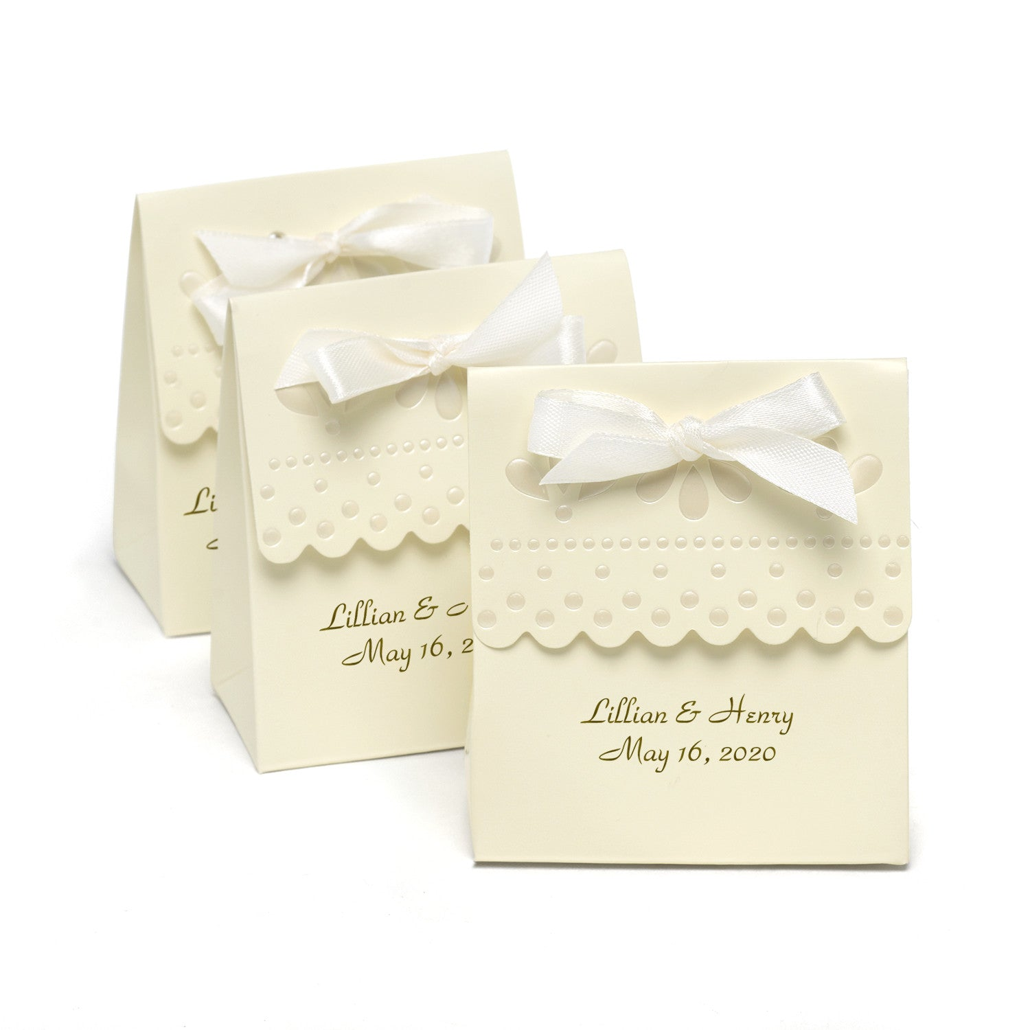 Personalized Scalloped Wedding Favor Boxes (Pack of 25) – Candy Cake ...