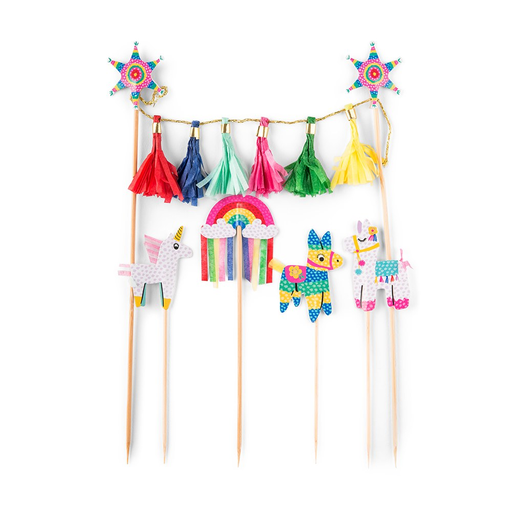 Colorful Fiesta Party Paper Cake & Cupcake Toppers - Set Of 5