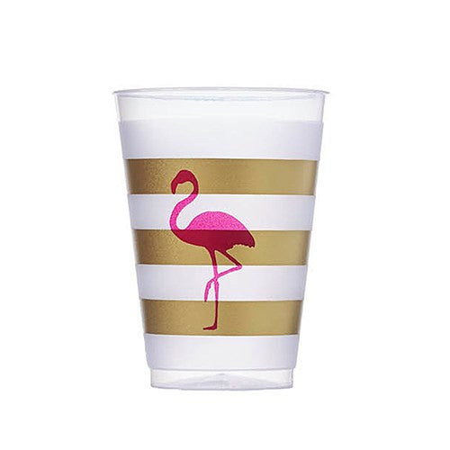 Pink Flamingo Frosted Plastic Cup Party Tumbler (Pack of 10)
