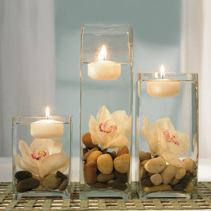 The floating candle, shown as an example of a centerpiece. (other items sold separately)