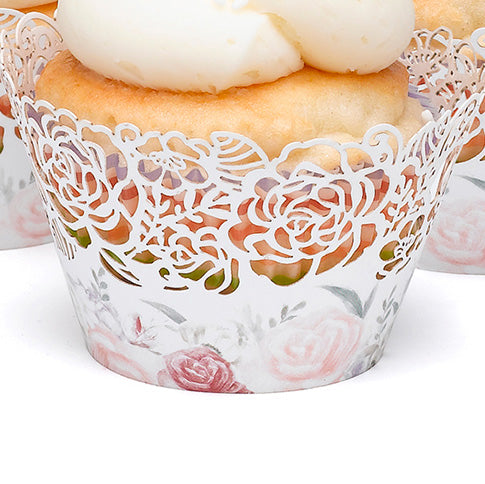 Floral Laser Cut White Paper Cupcake Wrapper
