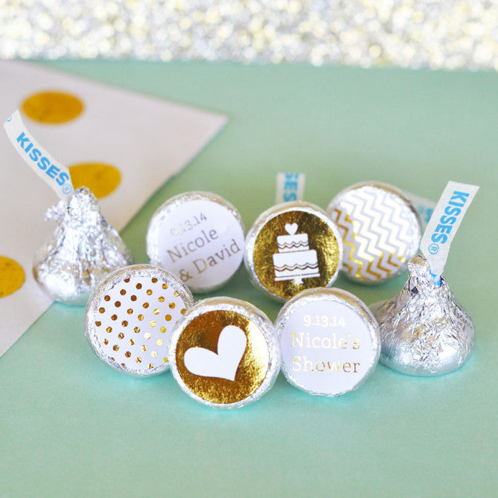 Personalized Metallic Gold Foil Hershey's® Kisses Labels Trio