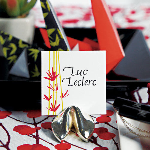 Silver Fortune Cookie Place Card Holders with an Asian Themed Place Card