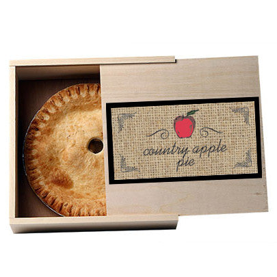 Personalized Apple Fruit Themed Rectangular Sticker, an example of what it would look like on a mini pie box. Box not included.