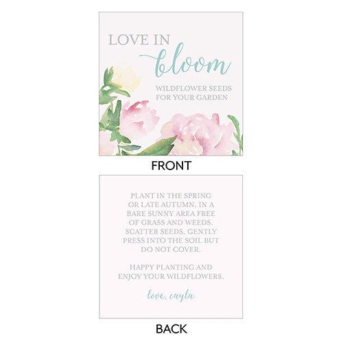 Garden Wedding Party Square Favor Tag