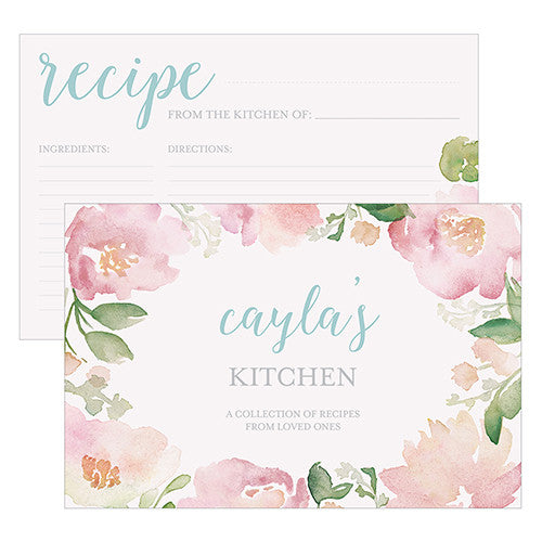 Garden Party Personalized Recipe Cards