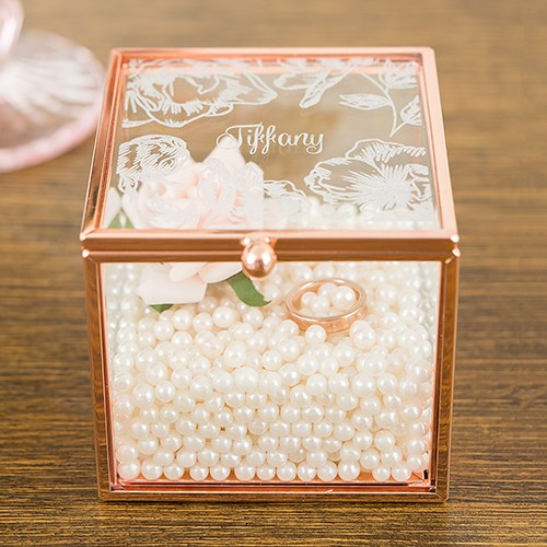Floral Etching Personalized Rose Gold and Glass Jewelry Box