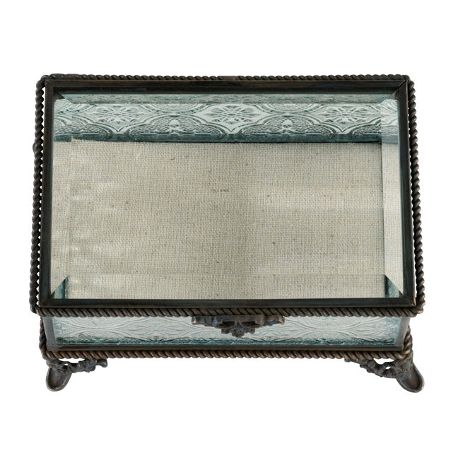 Monogrammed Rustic Rectangular Glass Wedding Ring Box