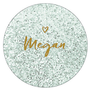 Personalized Bridesmaids Compact Mirror with Glitter + Heart Print