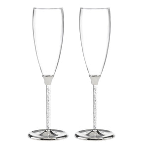 Glittering Beads Wedding Champagne Flute Set