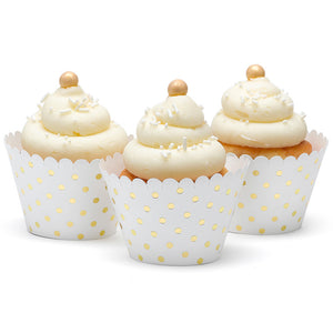 Gold Polka Dot White Paper Cupcake Wraps