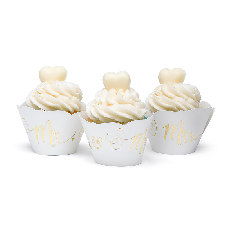 Gold Mr. & Mrs. Cupcake Wrap (Pack of 24)