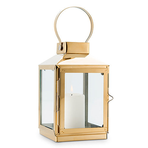 Gold Decorative Candle Lantern with Glass Panels