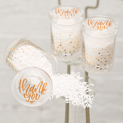 Gold Polka Dot Mini Glass Wedding Party Favor Jar