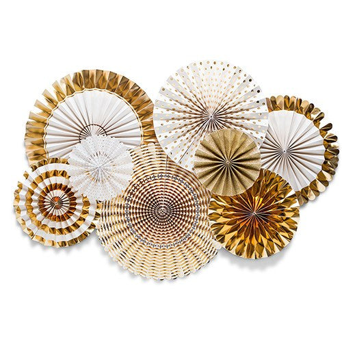 Gold Foil and Ivory Paper Fan Wedding or Party Decorations