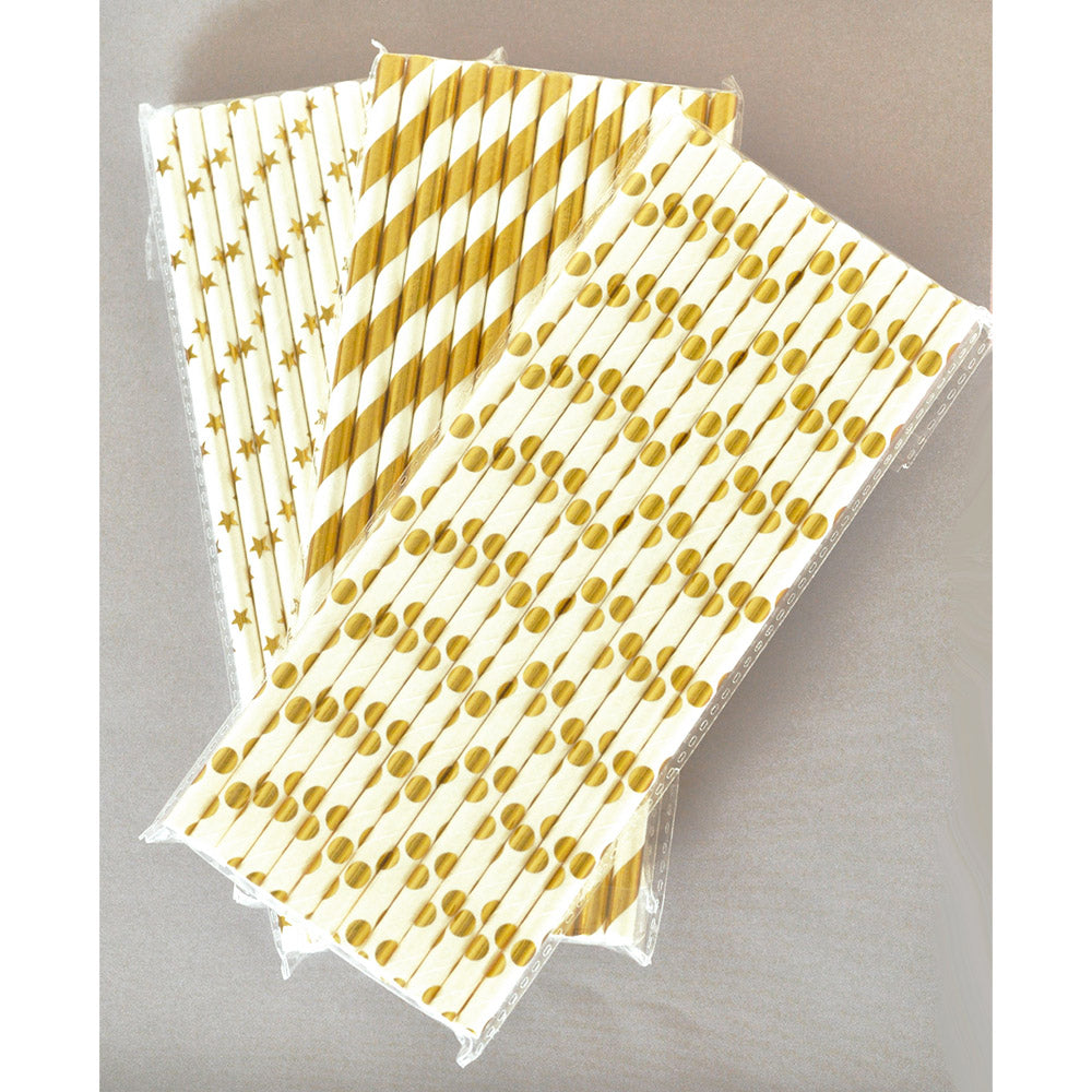 Metallic Gold or Silver Foil Paper Party Straws (Pack of 50)