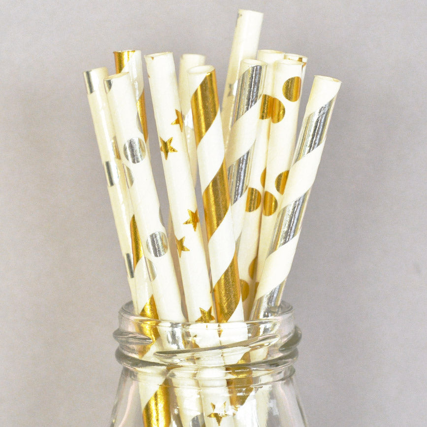 Metallic Gold or Silver Foil Paper Party Straws