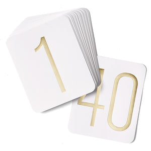 Gold Foil Wedding Table Numbers (Numbers 1- 40)