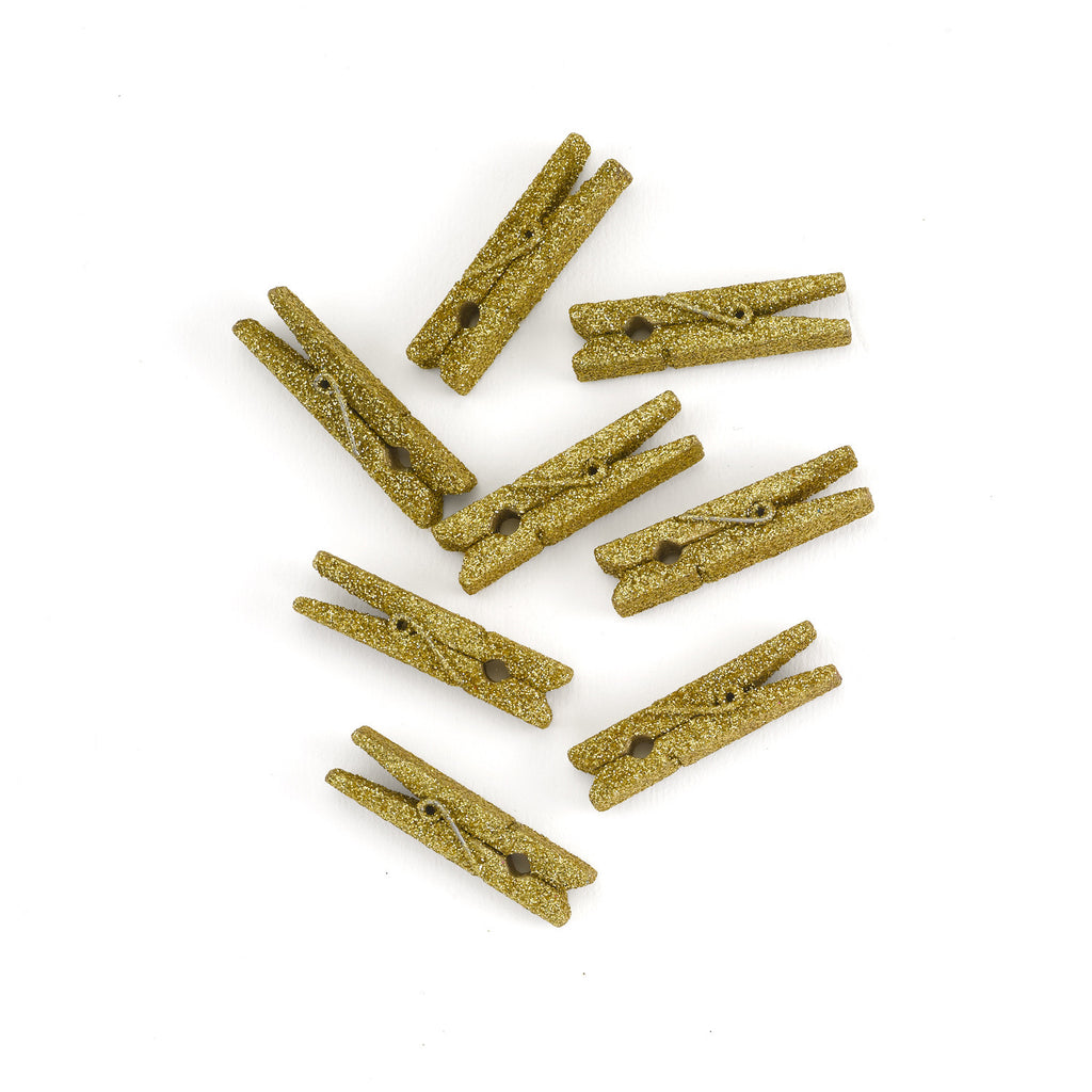 Mini Gold Glitter Clothespins Weddings and Parties