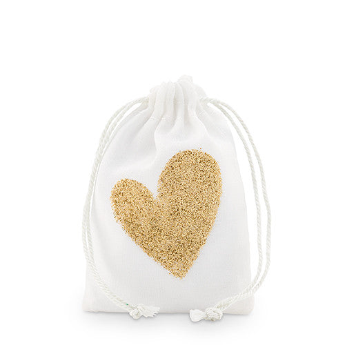 Gold Glitter Heart Muslin Drawstring Favor Bag