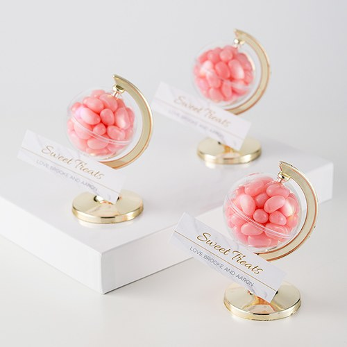 Mini Globe Favor Container  with Pink Jellybeans