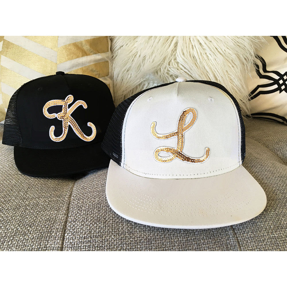 Personalized Metallic Gold Monogram Trucker Hat