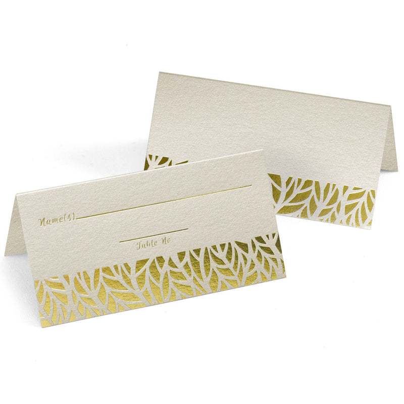 Gold Organic Leaves Wedding Party Place Card (Pack of 25)