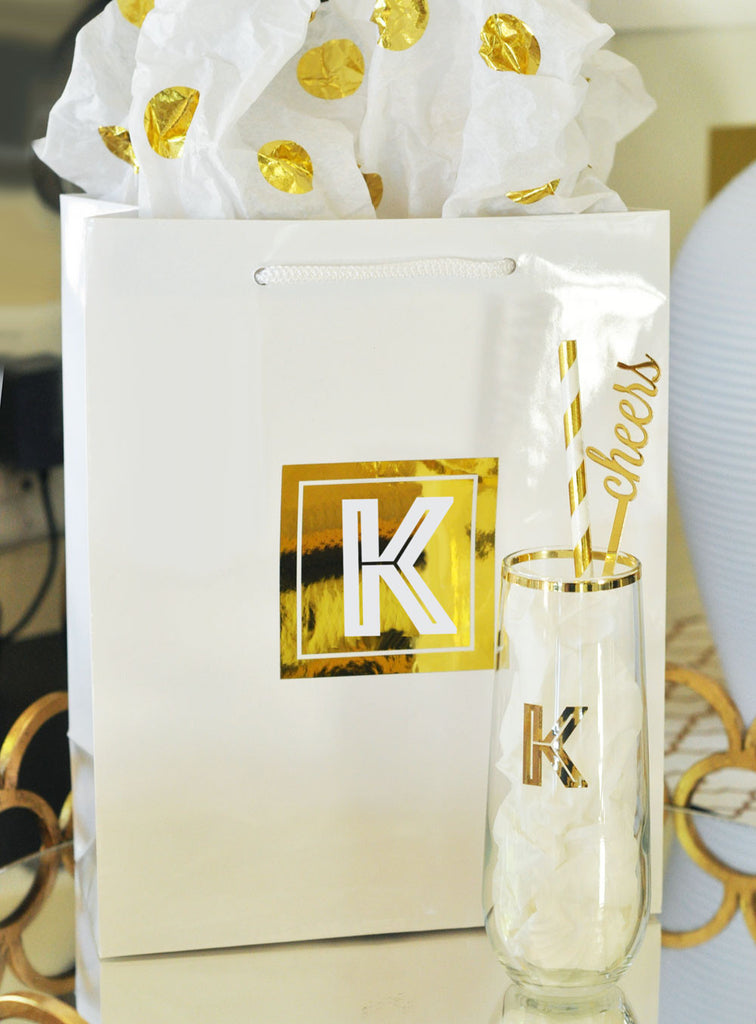 Custom Monogrammed Gold Stemless Glass