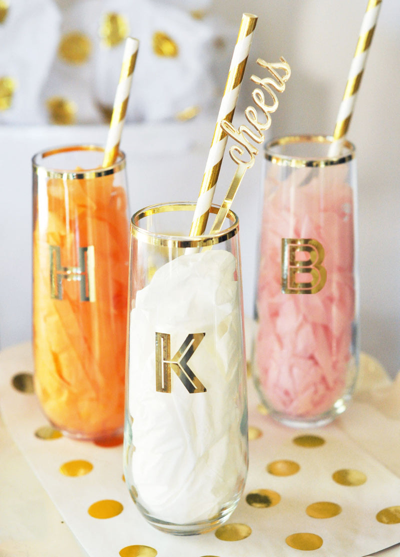 Custom Monogrammed Gold Rimmed Stemless Glass