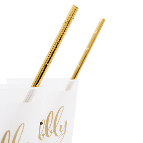 Gold Foil Paper Drinking Straws (Pack of 25)