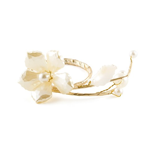 Pearl and Vintage Gold Catering Event Napkin Table Accessory (Pack of 8)