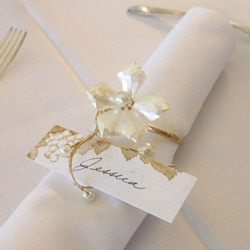 Pearl and Vintage Gold Catering Event Napkin Ring