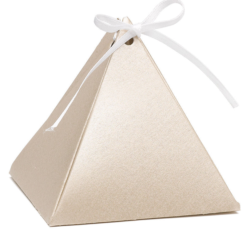 Personalized Gold Shimmer Pyramid Wedding Party Favor Box (Pack of 25)