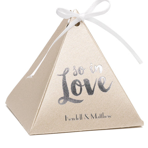 Personalized Gold Shimmer Pyramid Wedding Party Favor Box