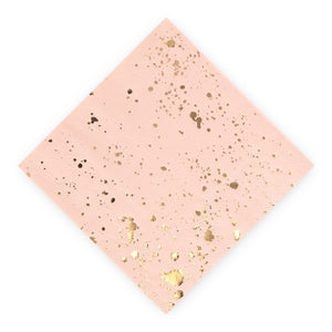 Metallic Gold Splash and Pink Cocktail Napkins (Pack of 20)